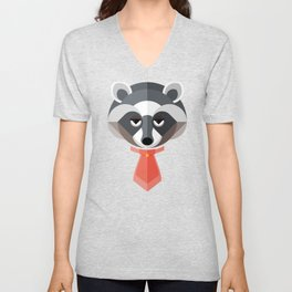 Raccoon Geo-Animal Friend Unisex V-Neck