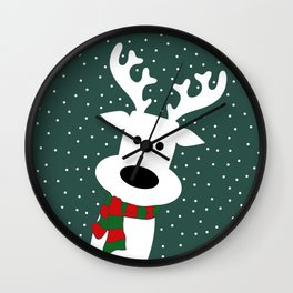Reindeer in a snowy day (green) Wall Clock