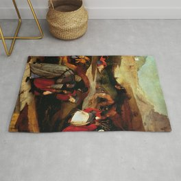 "Hieronymus Bosch ""Temptation of Saint Anthony"" (Antiga) 2 left wing Rug"