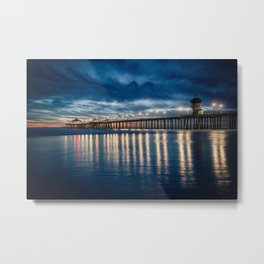 Huntington Beach Pier Sunset Blues  1-29-18 Metal Print