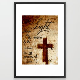 John1:5 a Coffee painting by Kagan Masters of Redeemed Ink Framed Art Print