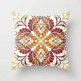 Rust Orange Yellow flourish Throw Pillow