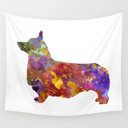 Pembroke Welsh Corgi 01 in watercolor Wall Tapestry