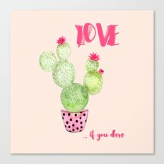 Love if you dare - Cactus watercolor illustration Canvas Print