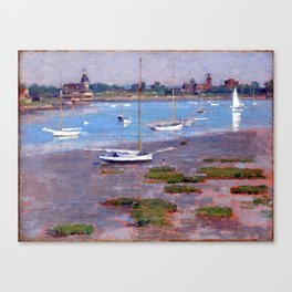 Theodore Robinson Low Tide, Riverside Yacht Club Canvas Print