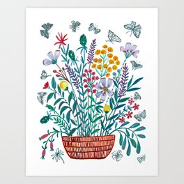 Wildflowers with Butterflies Art Print