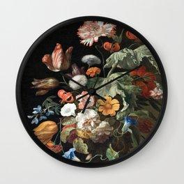 Bouquet of Baroque Flowers, shower curtain, Bathroom art, Bohemian, Home decor Wall Clock