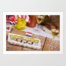 I - Dutch herring ('haring') with onions and pickles on rustic table Art Print