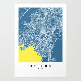 Athens - Greece Map |  Blue & Yellow Colors Art Print