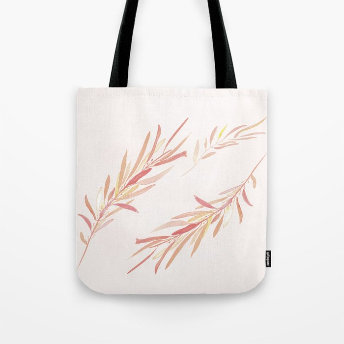Eucalyptus Leaves Pink Tote Bag