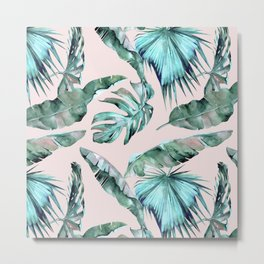 Tropical Palm Leaves Turquoise Green Coral Pink Metal Print