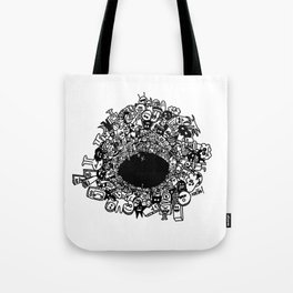 Monsters falling in hole, doodle art Tote Bag