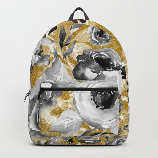 Black and white flowers with gold Backpack