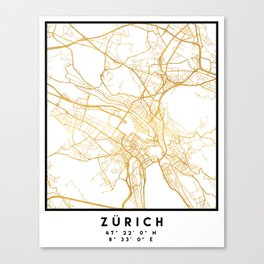 ZÜRICH SWITZERLAND CITY STREET MAP ART Canvas Print