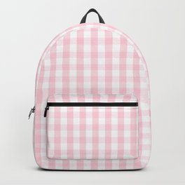 Light Soft Pastel Pink and White Gingham Check Plaid Backpack