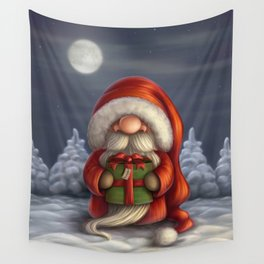 Little Santa with a gift Wall Tapestry
