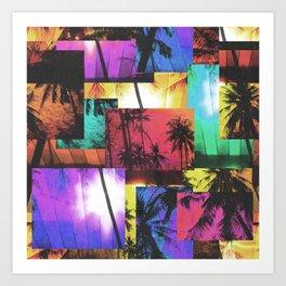 Tree Patterns with Sunset Art Print
