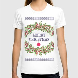 Merry christmas and happy new year white greeting card wreath light white background T-shirt