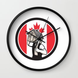 Canadian House Removal Canada Flag Icon Wall Clock
