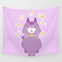 alpaca Wall Tapestries featuring Sparkle, Sparkple Alpaca! by steamoven