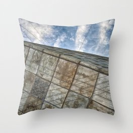 Sinking Building Sky of Dread Throw Pillow
