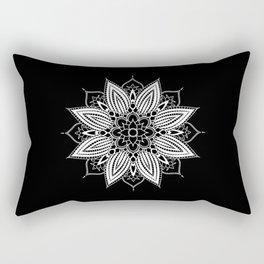 Black and White Flower Mandala Rectangular Pillow