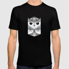 Owl. Black Mens Fitted Tee MEDIUM