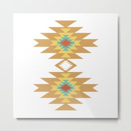 Southwest Santa Fe — Geometric Tribal Indian Abstract Pattern Metal Print