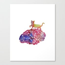 Cat and brain Canvas Print