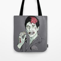 scarface Tote Bags featuring Zombie Al Pacino Scarface  by Jane Hazlewood