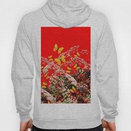 RED GARDEN ART OF YELLOW BUTTERFLIES & LACEY FLOWERS Hoody