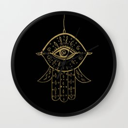 Hamsa Hand Gold on Black #1 #drawing #decor #art #society6 Wall Clock