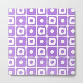 Mid Century Square Dot Pattern Purple Metal Print
