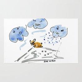 No storm for Bouboule, french bulldog art print Rug