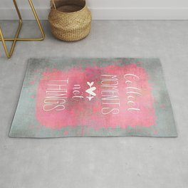 Collect Moments watercolor typography quote Rug