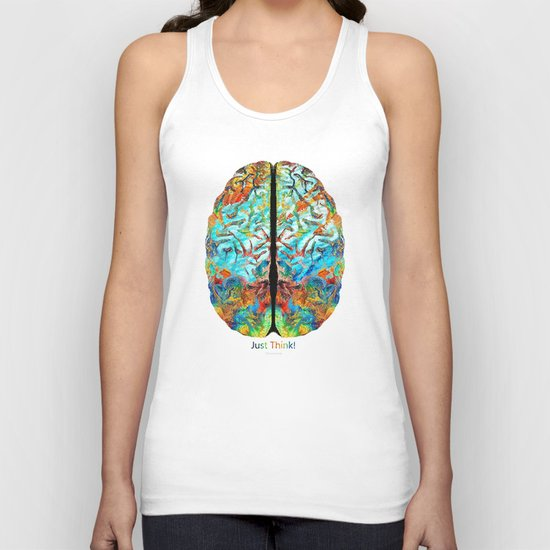 Colorful Brain Art - Just Think - By Sharon Cummings Unisex Tank Top