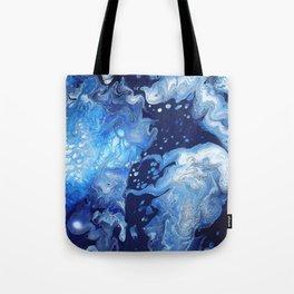 Clarity Abstract Print - Blue Fluid Liquid Art Tote Bag