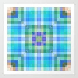 Geometric Blue and Green Art Print