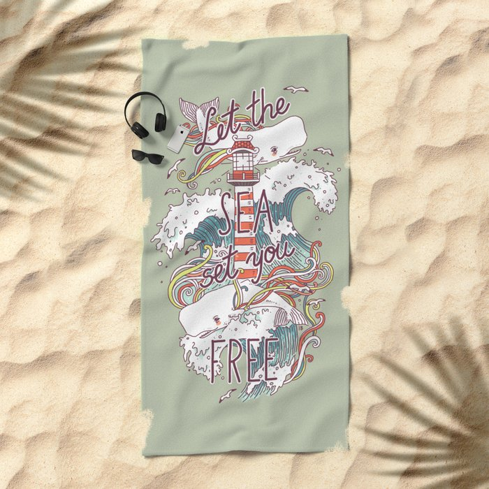 Whales and Waves Beach Towel