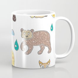 Seamless Pattern with cute Hand Drawn Animals. Scandinavian Style Coffee Mug