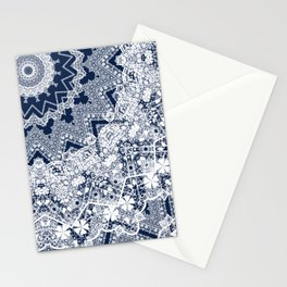 White blue lace pattern . Kaleidoscope . Stationery Cards