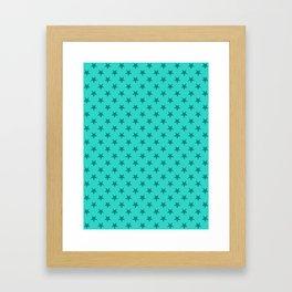 Teal on Turquoise Stars Framed Art Print