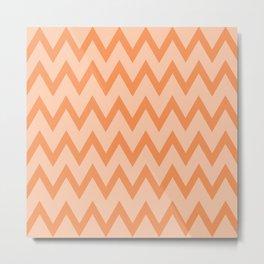 Trendy Orage and Peach Chevron Zigzag Pattern Metal Print