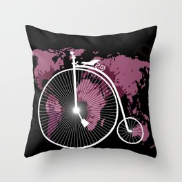 bicycle over textured world map Throw Pillow