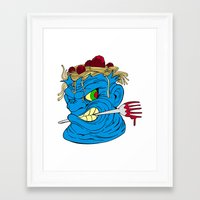 pasta Framed Art Prints featuring pasta by toonz