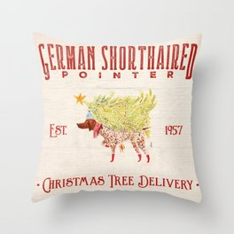 GSP german shorthaired pointer christmas tree delivery Throw Pillow