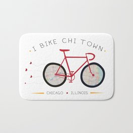 Chicago, Illinois by I Bike Bath Mat