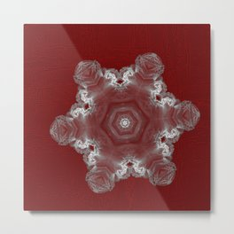 Spectacular fractal snowflake on textured red Metal Print