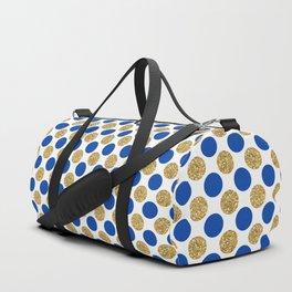 Pastel pink navy blue faux gold glitter polka dots Duffle Bag