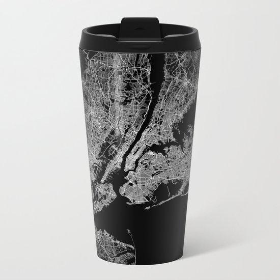 New York map Metal Travel Mug